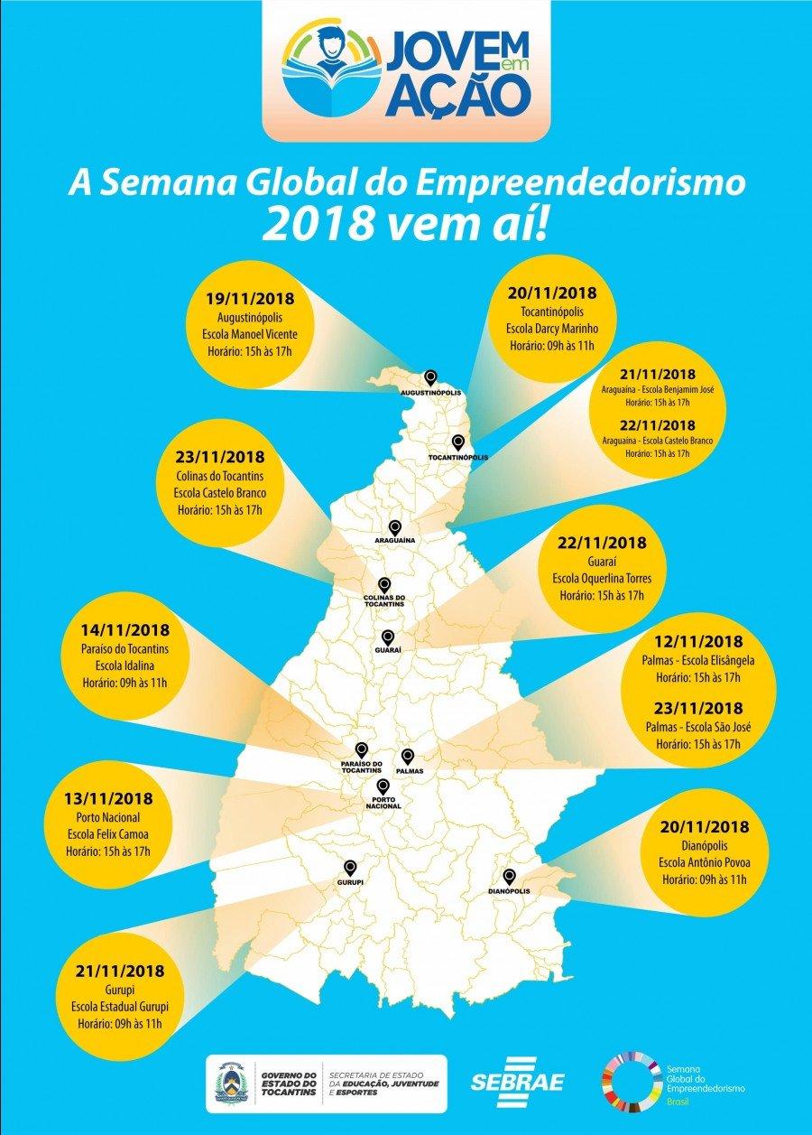 Semana Global do Empreendedorismo terá programação em Augustinópolis, Tocantinópolis e em mais 8 cidades Tocantinenses