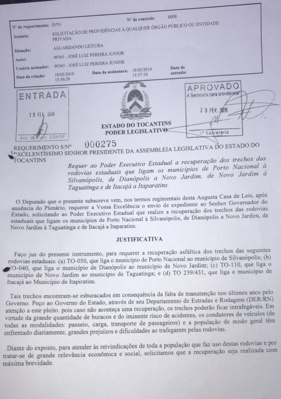 Requerimento apresentado na Assembleia Legislativa, pelo deputado Jair Farias (MDB)