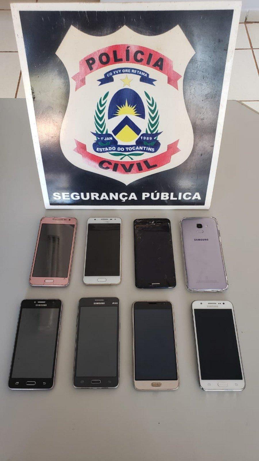 Oito celulares apreendidos pela Polícia Civil