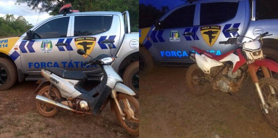 Motocicletas apreendidas pela PM em São Bento do Tocantins