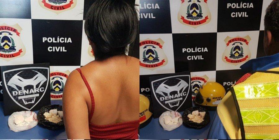 Mulher suspeita de tráfico e mototaxista que fazia entregas de drogas foram presos pela Polícia Civil em Palmas
