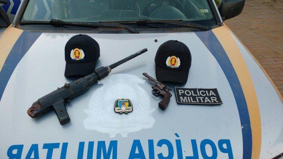 Armas apreendidas pela PM em residência de suspeito na cidade de Axixá