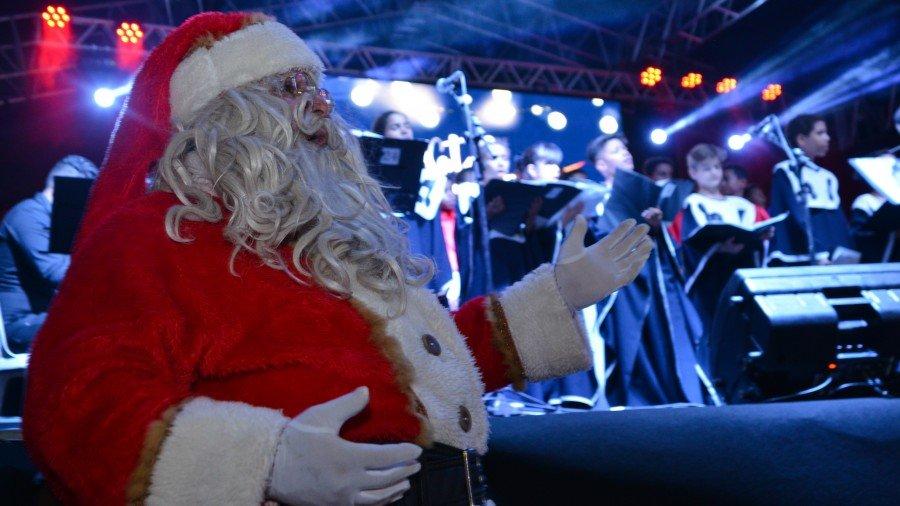Chegada do Papai Noel marca inauguração do acendimento das luzes de Natal (Foto: Edu Fortes)
