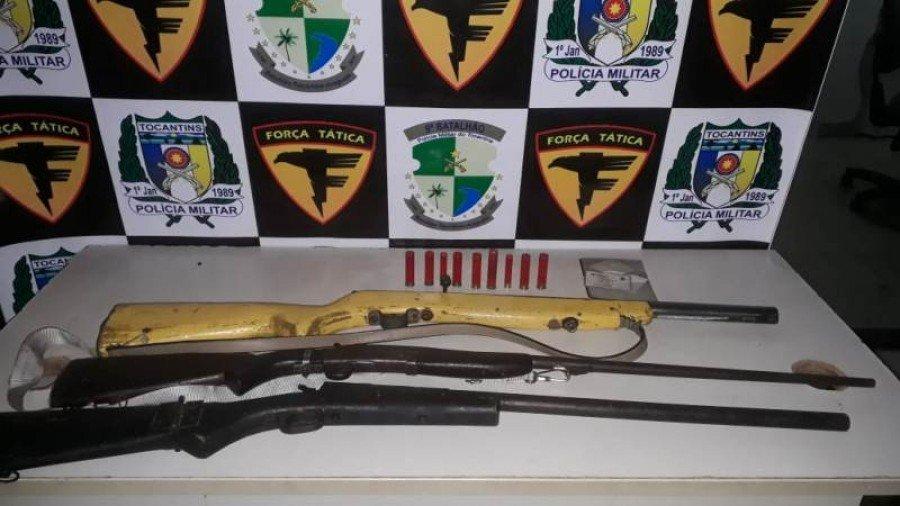 Armas e munições apreendidas pela PM em São Bento
