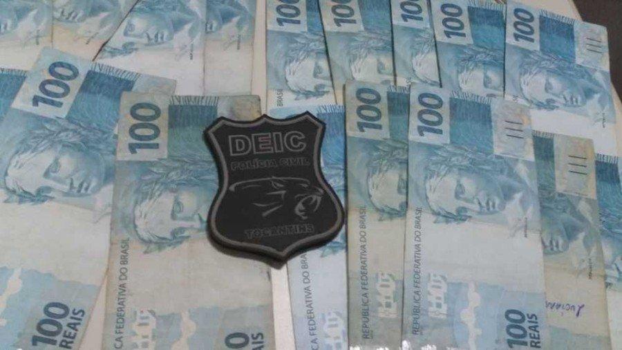 Dinheiro apreendido pela Polícia Civil