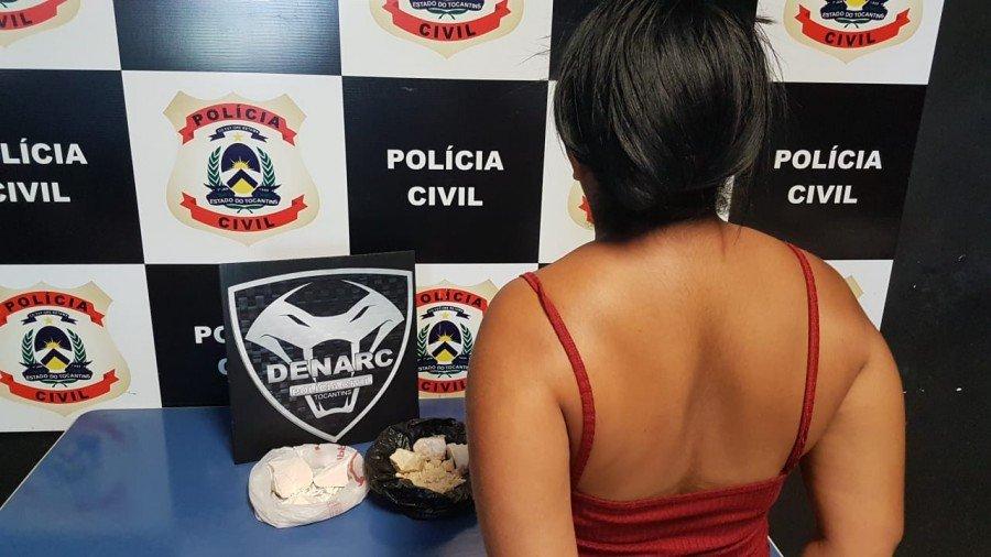 Mulher suspeita de tráfico de drogas foi presa pela Polícia Civil em Palmas
