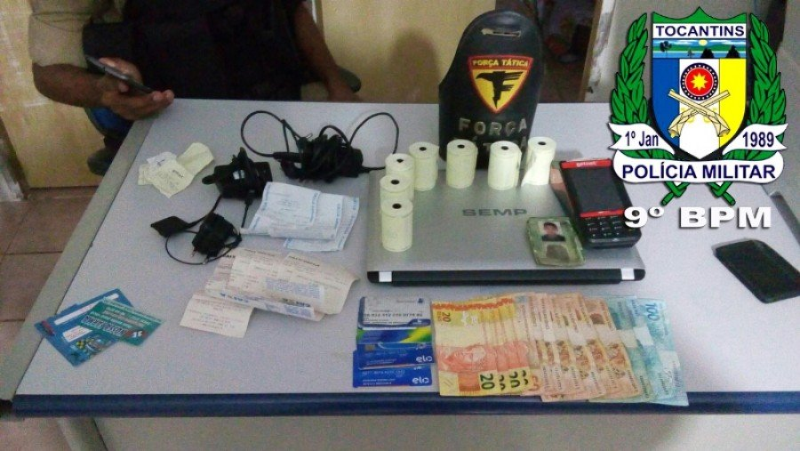 Objetos apreendidos em poder do acusado em Araguatins