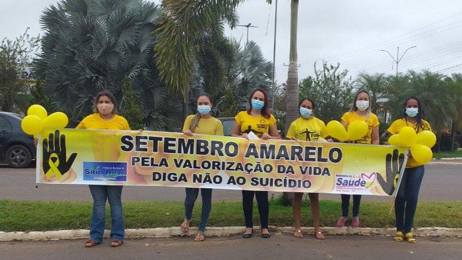 Equipe do CAPS I de Sítio Novo do Tocantins durante ação realizada na manhã desta sexta-feira, 10 (Foto: Ascom)