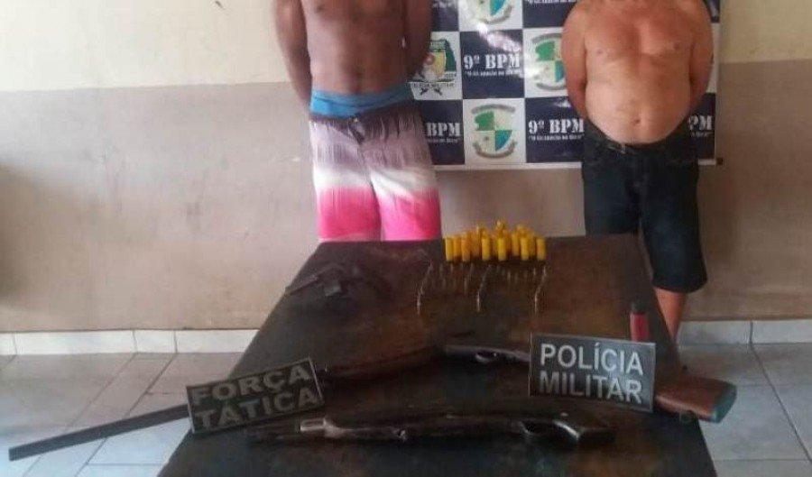 Armas apreendidas pela PM em poder dos autores em Carrasco Bonito