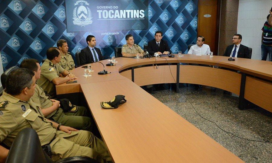 Coletiva com Policias Civil e Militar para tratar sobre a morte do sargento da PM Gustavo Teles, ocorrida na segunda-feira, 22, em Gurupi