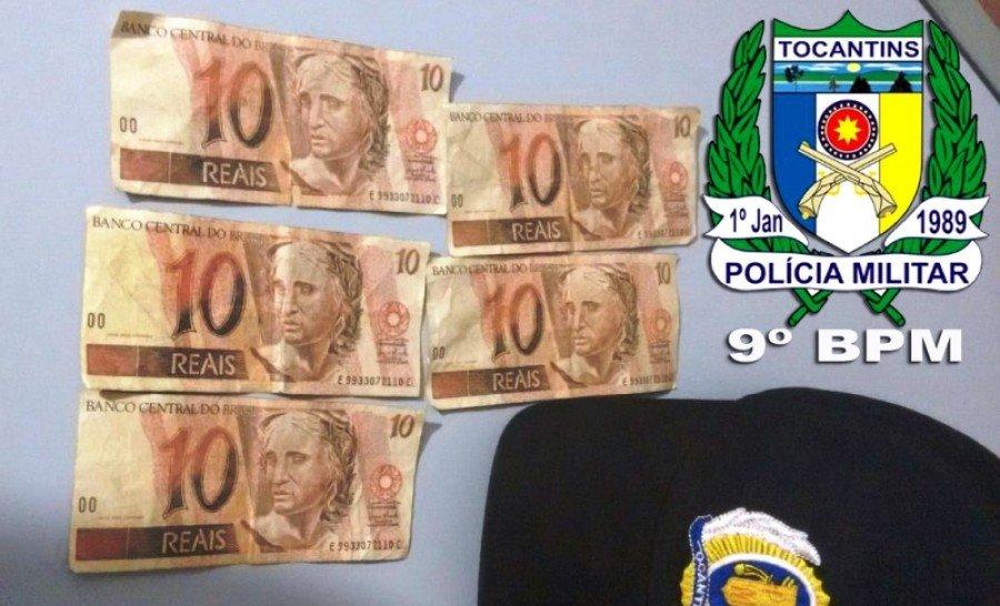 Notas falsas apreendidas pela PM em Araguatins