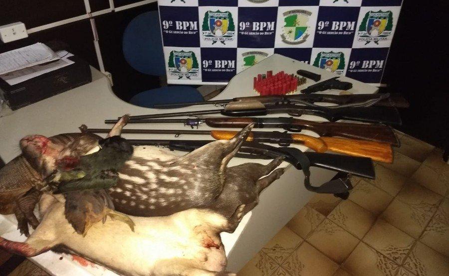 PM apreendeu seis armas de fogo, munições e animais silvestres abatidos no povoado Macaúba em Araguatins