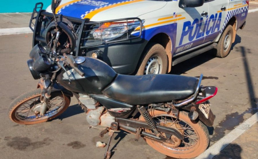 Motocicleta com restrição de furto/roubo é recuperada e homem é preso por receptação em Goianorte (Foto: Divulgação)