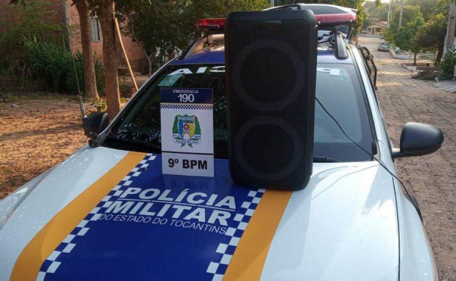 Equipamento de som apreendido pela PM por perturbação sonora em Sítio Novo (Foto: Divulgação/9° BPM)