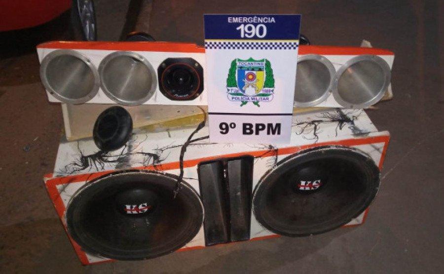 Equipamento de som apreendido pela PM por perturbação sonora em Axixá (Foto: Divulgação/9° BPM)