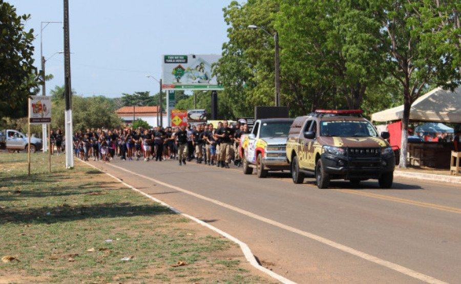 Um dos momentos da corrida pelo centro da cidade (Foto: Divulgação/9° BPM)