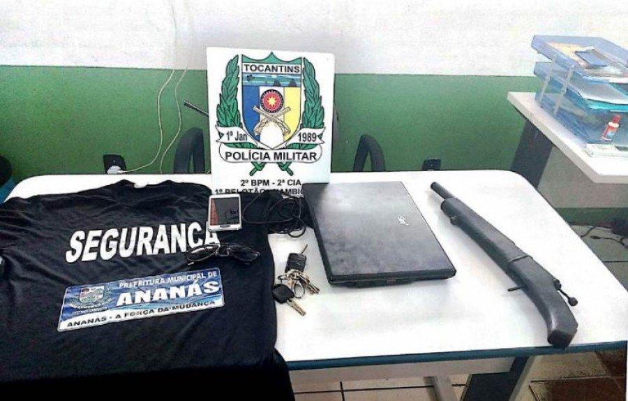 Arma de fogo, celular e notebook apreendidos pela Polícia Militar de Xambioá