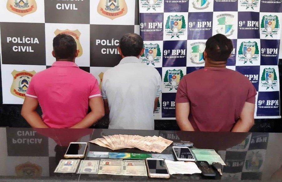 Operação conjunta das Polícias Militar e Civil levou a prisão de três acusados de estelionato e uso de documentos falsos em Augustinópolis