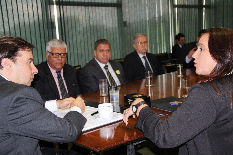 Secretária Patrícia do Amaral em audiência com Rodrigo Maia (Foto: Sonia Pugas)