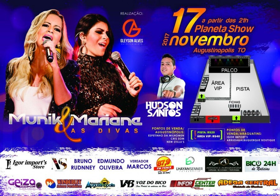 Show com a dupla sertaneja Munique e Mariane acontece nesta próxima 6ª em Augustinópolis