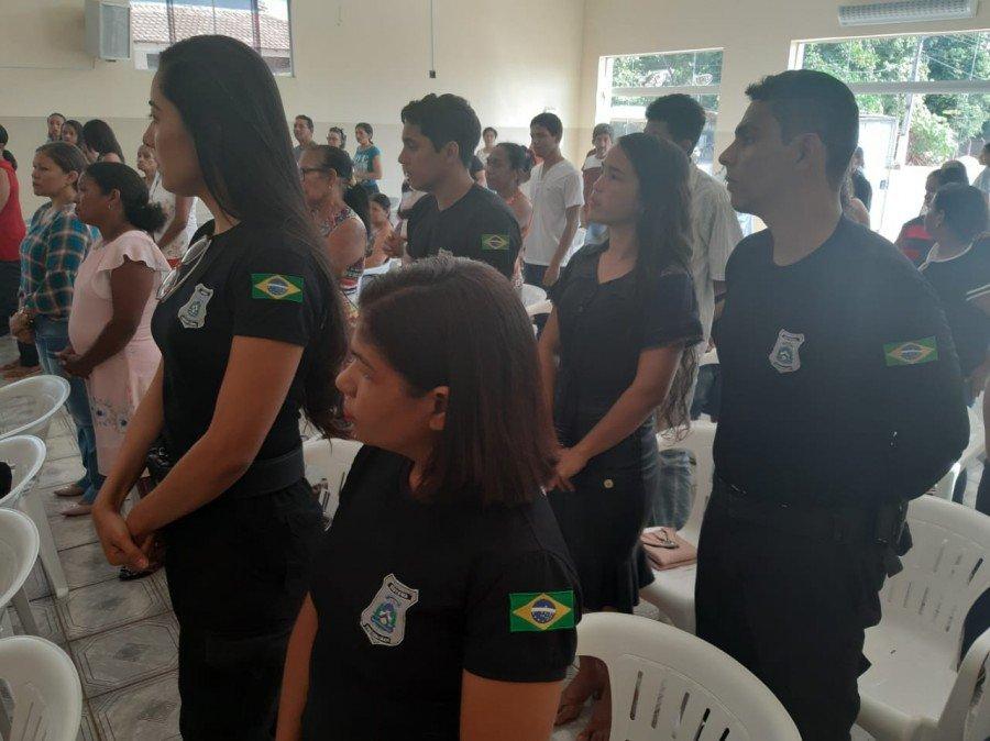 Membros das forças de segurança também foram homenageados (Foto: Ascom/5ª CIPM)