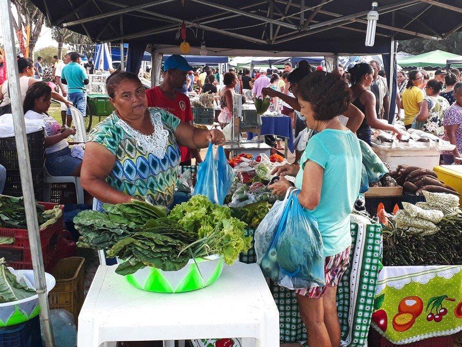 Dona Neci Gonçalves viu a venda e a renda aumentarem com a participação na feira (Foto: Wandson Santos)