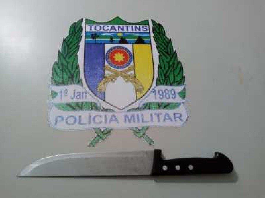 Faca usada na tentativa de homicídio