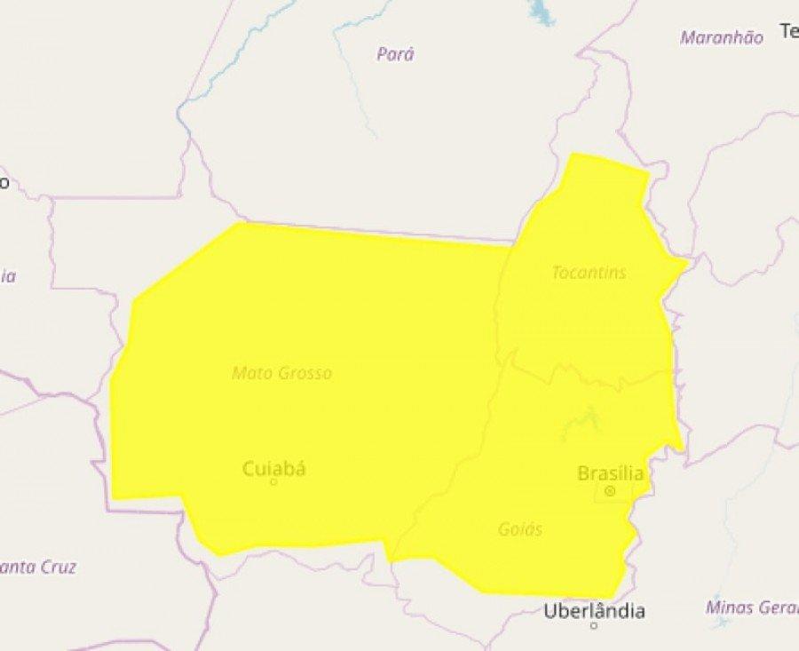 Alerta do Inmet abrange grande parte do Tocantins