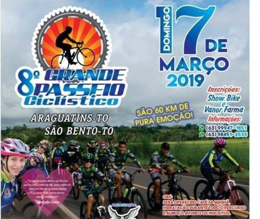 Interessados em participar da 8ª Edição do Passeio Ciclístico Araguatins/São Bento devem realizar as inscrições até sábado, 16 de março