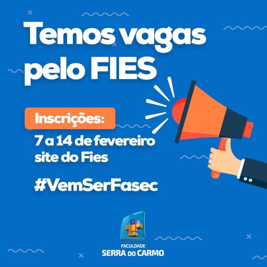 Faculdade Serra do Carmo disponibiliza vagas pelo FIES; Inscrições a partir do dia 07