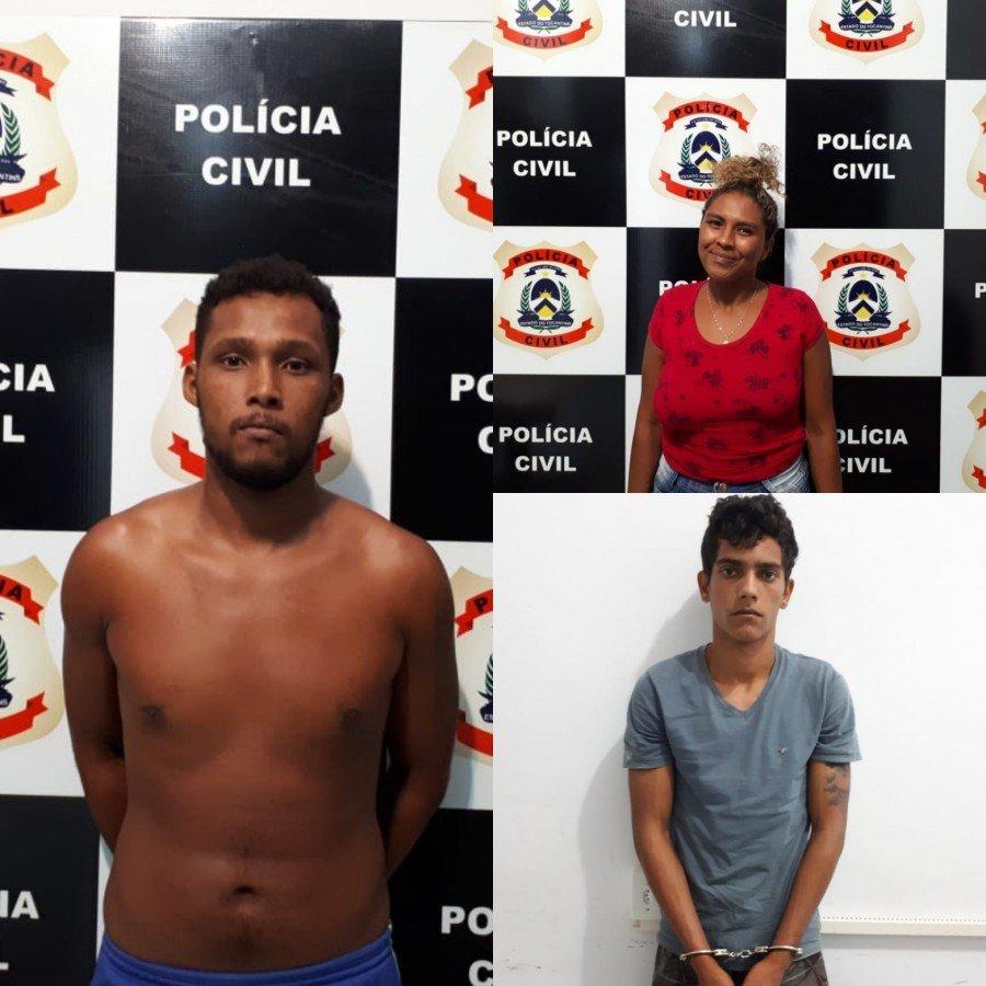 Polícia Civil prendeu dois homens e uma mulher suspeitos por roubo e tráfico de drogas em Palmas
