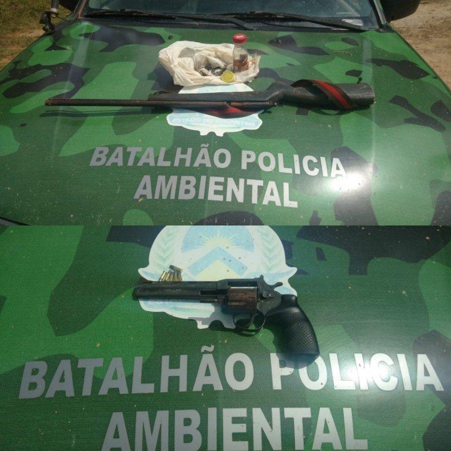 Polícia Militar Ambiental apreendeu duas armas de fogo e munições em poder de dois suspeitos que foram detidos em acampamento às margens do Rio Formoso